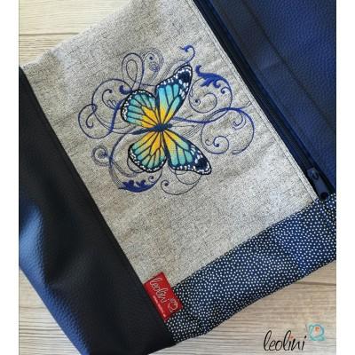 Foldover Tasche Schmetterling Stickerei  - mit Außenfach