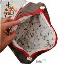 Foldovertasche mit Stickerei Eulen - mit Außenfach