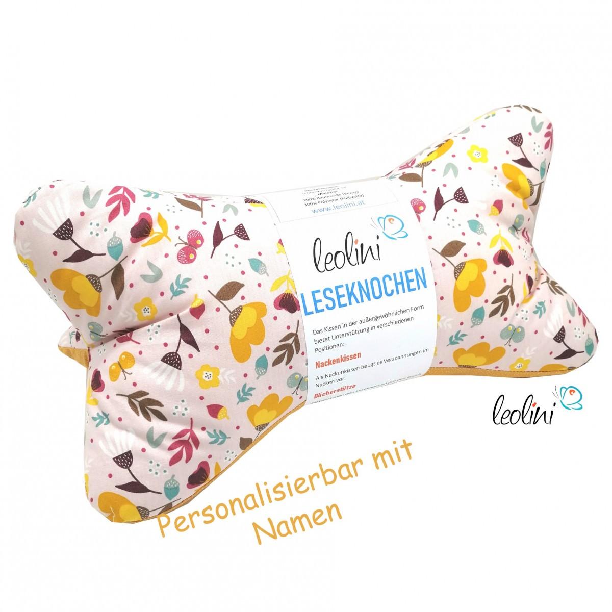 Leseknochen - Lesekissen von Leolini Blumenmuster senf mit Namen