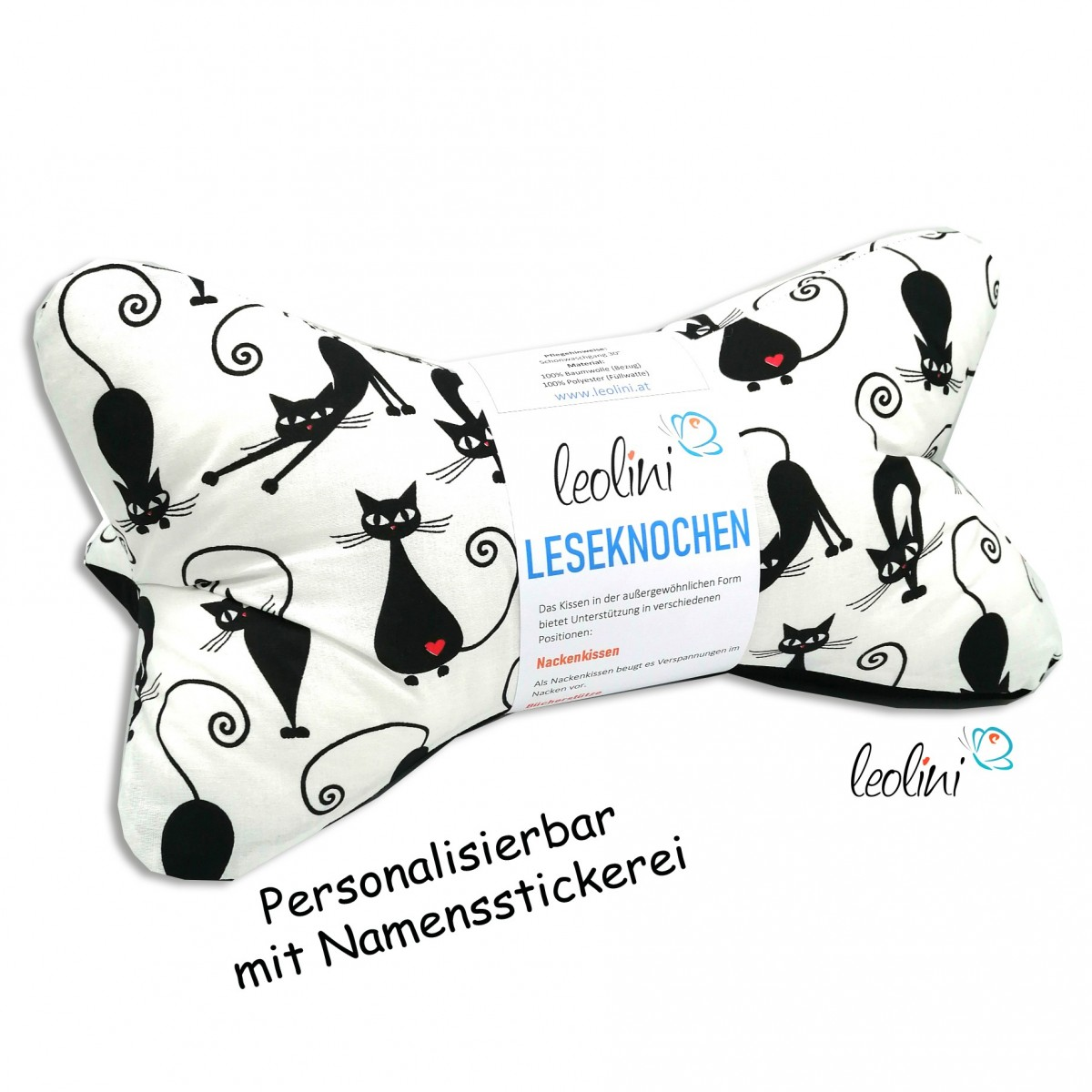 Leseknochen - Lesekissen von Leolini crazy cats mit Namen