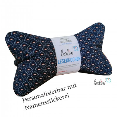 Personalisierbarer Leseknochen - Lesekissen von Leolini dunkelblau retro mit Namen