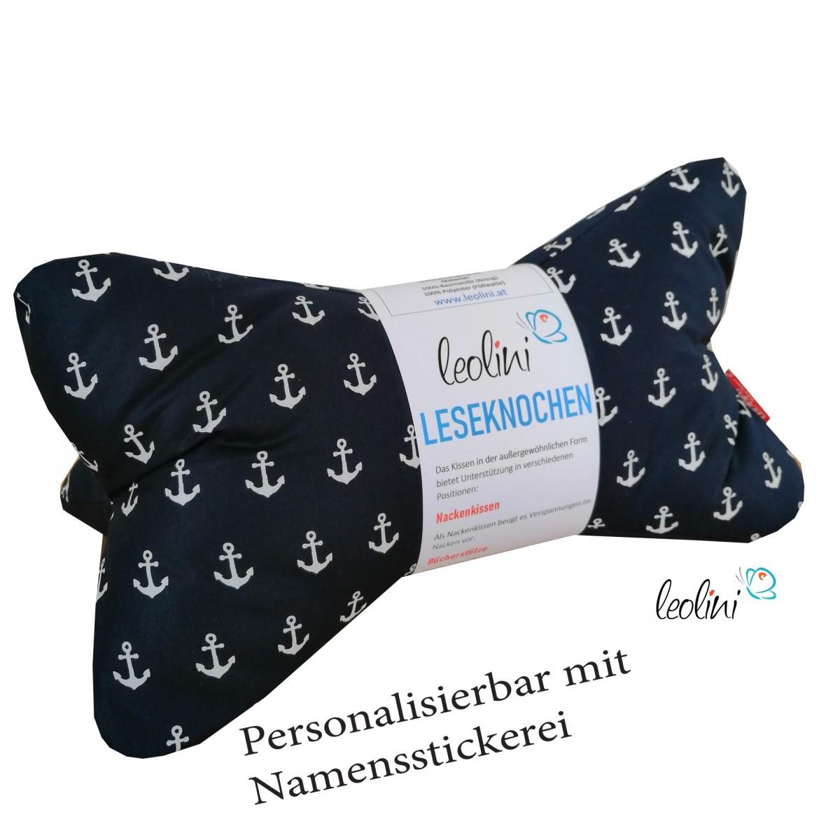 Personalisierbarer Leseknochen - Lesekissen von Leolini Anker mit Namen