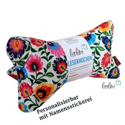 Personalisierbarer Leseknochen - Lesekissen von Leolini Blumentraum mit Namen