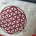 Foldover Tasche Blume des Lebens Stickerei - Lebensblume bordeaux