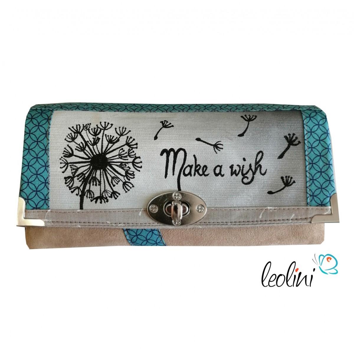 Große Malereigeldbörse - Damen Portemonnaie Pusteblume Make a wish