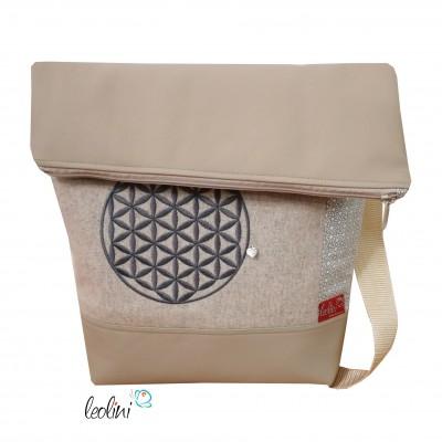 Foldover Tasche Blume des Lebens Stickerei mit Charmanhänger- beige
