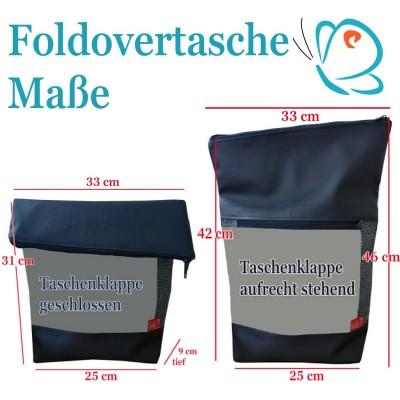 """Foldover Tasche """"Gemeinsamkeiten"""" Fuchs im Mondlicht Stickerei  - mit Außenfach"""