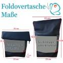 Foldover Tasche Blume des Lebens Stickerei - Lebensblume grau-türkis