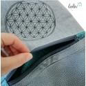 SET: Blume des Lebens Foldover Tasche und großes Portemonnai grau türkis