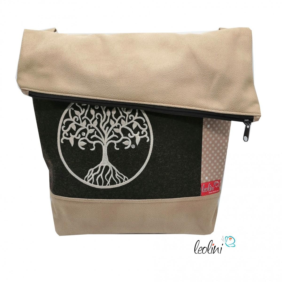 Foldover Tasche Lebensbaum Stickerei mit Kristallsteinchen - beige