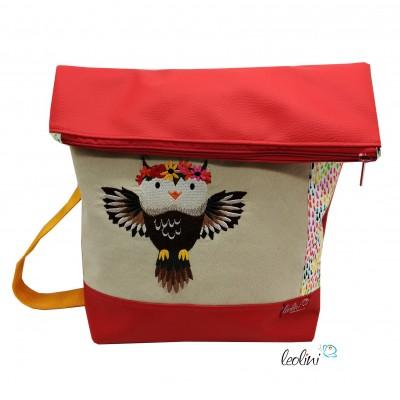 Foldover Tasche Eule Mia Stickerei - rot