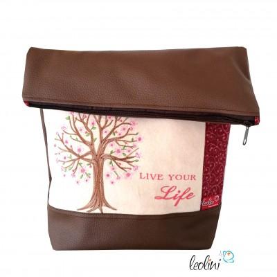 Foldover Tasche Lebensbaum Frühlingsgefühle Stickerei - mit Außenfach