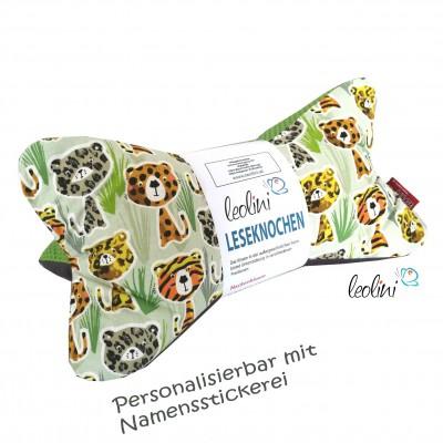 Personalisierbarer Leseknochen - Lesekissen von Leolini Tiger mit Namen