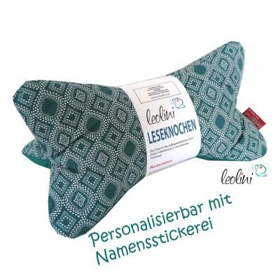 Personalisierbarer Leseknochen - Lesekissen von Leolini Ornamente petrol Namensstickerei
