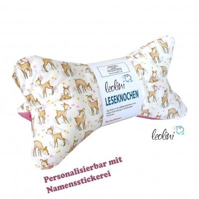 Personalisierbarer Leseknochen - Lesekissen von Leolini Rehe rosa Namensstickerei
