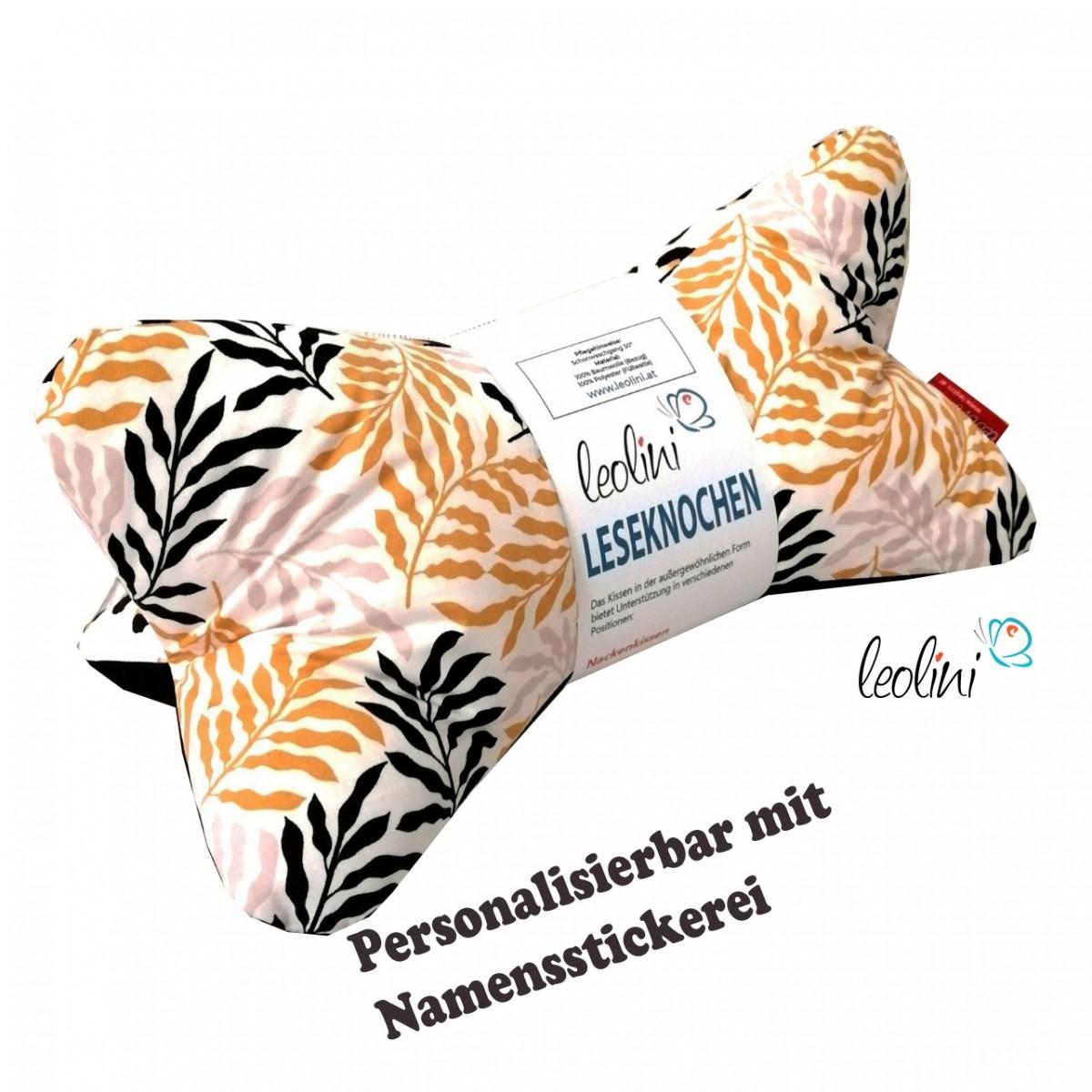 Personalisierbarer Leseknochen - Lesekissen von Leolini Palmenblätter Namensstickerei