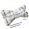 Personalisierbarer Leseknochen - Lesekissen von Leolini DEINE TIERE Namensstickerei
