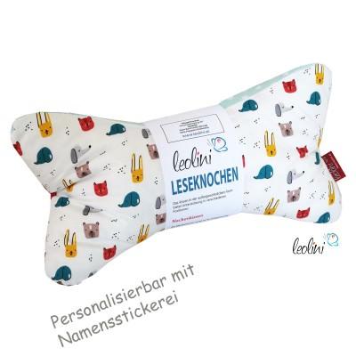 Personalisierbarer Leseknochen - Lesekissen von Leolini Hase und co Namensstickerei
