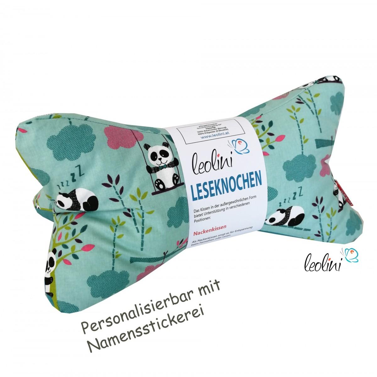 Personalisierbarer Leseknochen - Lesekissen von Leolini Panda türkis Namensstickerei
