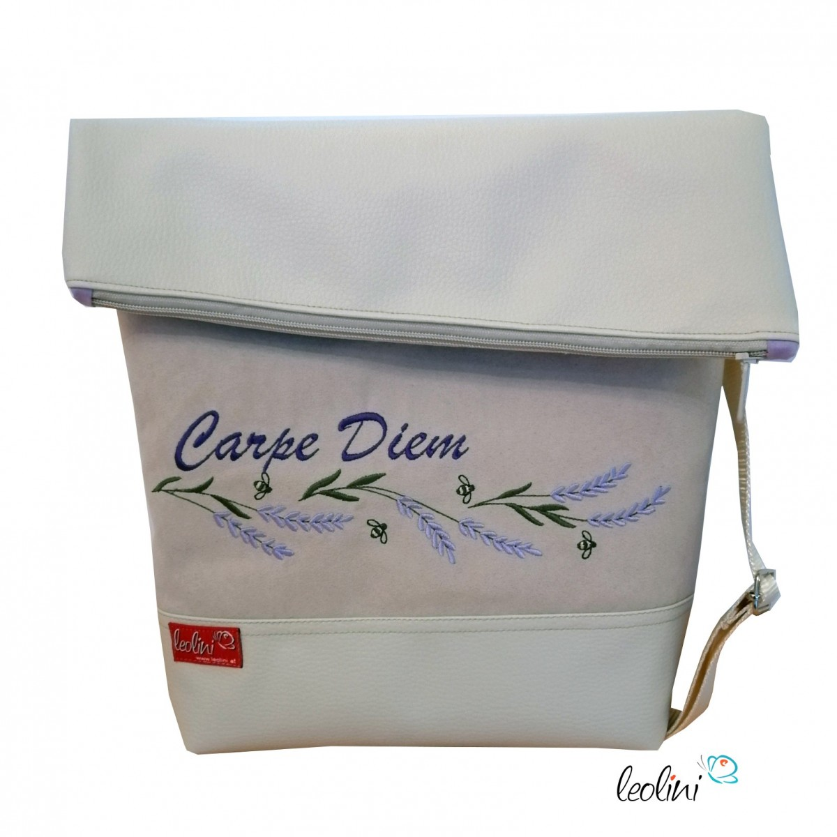 Foldover Tasche Carpe Diem Lavendel Stickerei - mit Außenfach