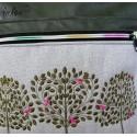 Foldover Tasche Lebensbäume Stickerei oliv - mit Außenfach