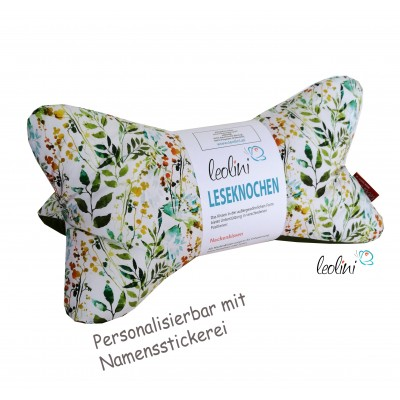 Personalisierbarer Leseknochen - Lesekissen von Leolini Wiese Namensstickerei
