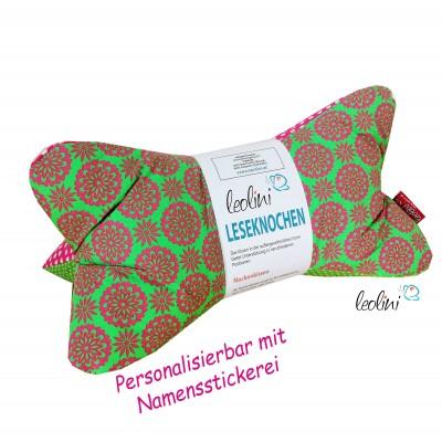 Personalisierbarer Leseknochen - Lesekissen von Leolini Pinky Namensstickerei