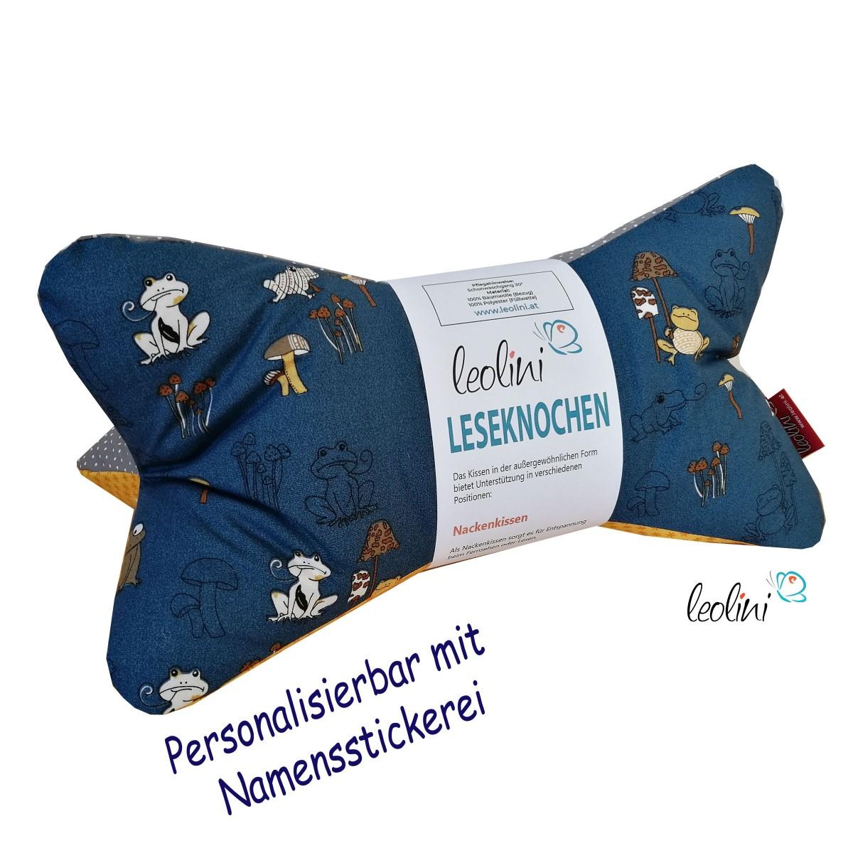 Personalisierbarer Leseknochen - Kissen Froggy  von Leolini Namensstickerei