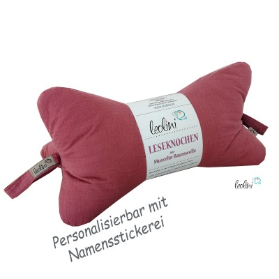 Musselin Leseknochen altrosa - personalisierbar mit Stickerei