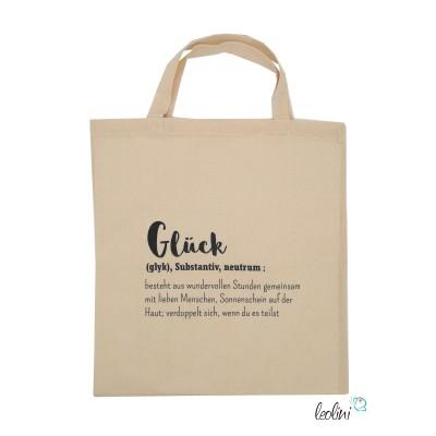 Baumwolltasche Einkaufstasche bedruckt mit Glück