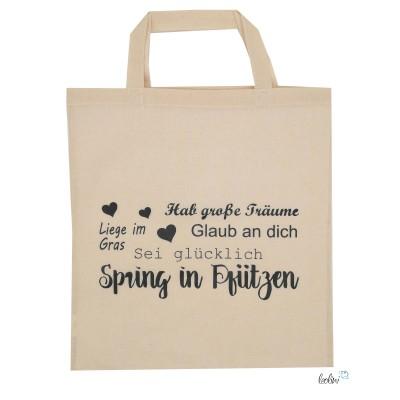 Baumwolltasche Einkaufstasche bedruckt mit Spring in Pfützen