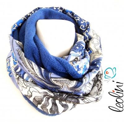 Loop für den Winter, Fleece Schlauchschal blau